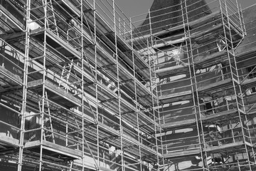 Iron construction scaffolding