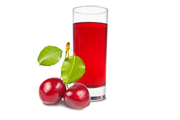 A glass of cherry juice