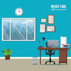 work time desk workspace window clock plant laptop vector illustration eps 10