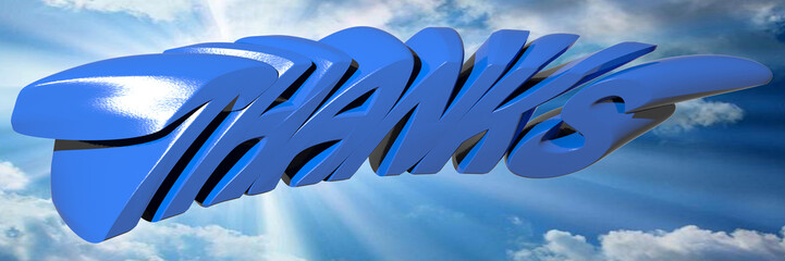 THANKS written with blue 3D letters on a blue sunny sky