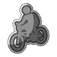 grayscale sticker with pictogram of man in bike vector illustration
