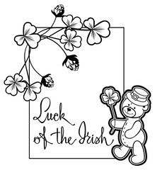Outline  frame with shamrock contour and teddy bear. Vector clip art.