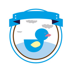 circular border with label and duck toy vector illustration