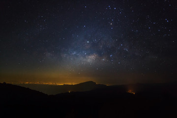 Milky Way Galaxy at Doi inthanon Chiang mai, Thailand.Long expos