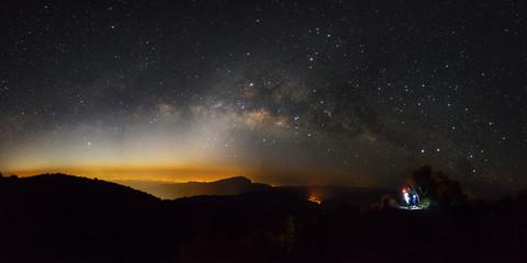 Panorama Milky Way Galaxy at Doi inthanon Chiang mai, Thailand.