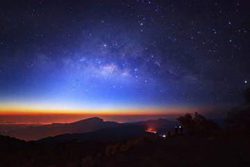 Milky Way Galaxy at Doi inthanon Chiang mai, Thailand. Long expo