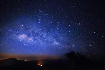 Milky Way Galaxy at Doi inthanon Chiang mai, Thailand.Long expos