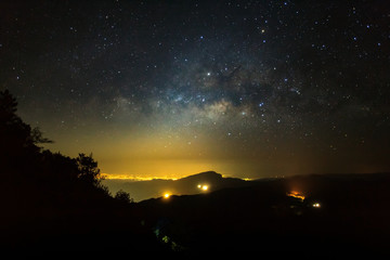 Milky Way Galaxy at Doi inthanon Chiang mai, Thailand. Long expo
