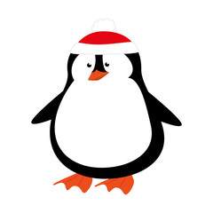 cute penguin with christmas hat isolated icon vector illustration design