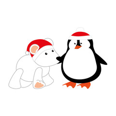 cute penguin and polar bear with christmas hat isolated icon vector illustration design