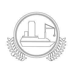 symbol white ship icon, vector illustration design
