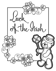 Outline  frame with shamrock contour and teddy bear. Raster clip art.