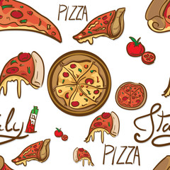 pattern italian foods pizza drawing graphic  design objects