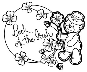 Outline round frame with shamrock contour and teddy bear. Raster clip art.