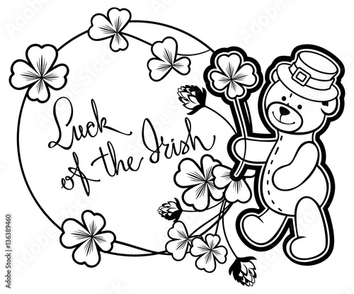u0026quot outline round frame with shamrock contour and teddy bear