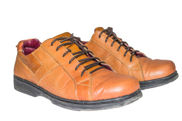 Brown leather shoes with white background