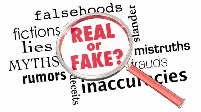 Real or Fake Magnifying Glass Lies Wrong Information 3d Illustra
