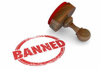 Banned Forbidden Illegal Not Allowed Stamp Word 3d Illustration Wall mural