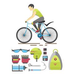 Flat bicycle equipment icon rider vector illustration.