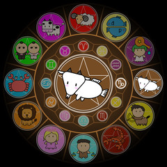 Capricorn Zodiac in Center Circle of horoscope signs Cartoon icon vector on black background