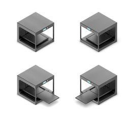 3d rendering of a small black 3d-printer in open and closed state in double-sided isometric view.