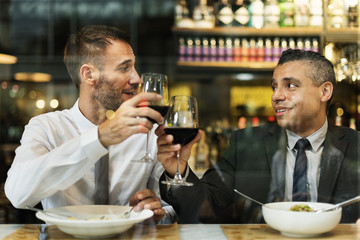 Businessman Meeting Eating Discussion Cuisine Party Concept