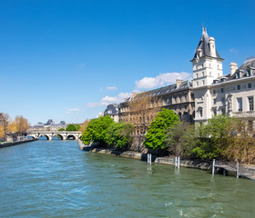 Wall Mural - Seine river in Paris, France, on a bright sunny day in Spring