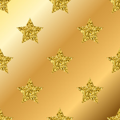Vector golden glitter stars seamless pattern