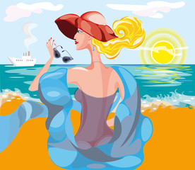 vector illustration of a beautiful woman in big hat and blue scarf with sun glasses looking at the  steamship in the sea
