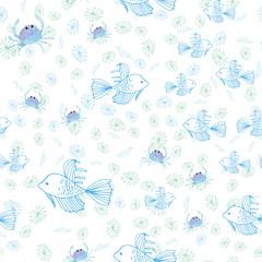Handmade Painting watercolor blue sea, paper texture