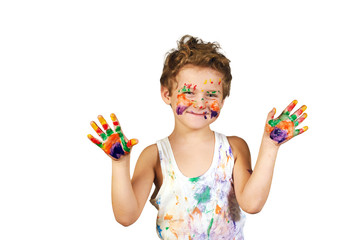 boy covered in paint , isolated on white background