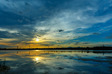 Beautiful clouds, clouds shadows reflections on water,background nature.