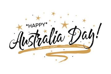 Happy Australia Day. Beautiful greeting scratched calligraphy black text word gold stars.Hand drawn invitation T-shirt print design. Handwritten modern brush lettering white background isolated vector