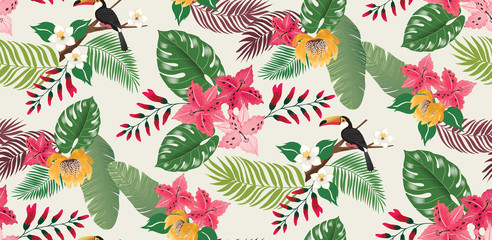 Vector illustration of a seamless tropical floral pattern in summer with birds for wedding invitations and birthday cards and background.