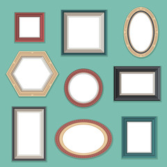 Vector set of flat style photo frames on the wall.