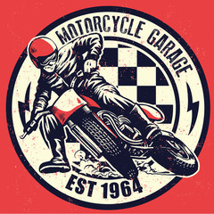 VIntage motorcycle garage design with dirty texture