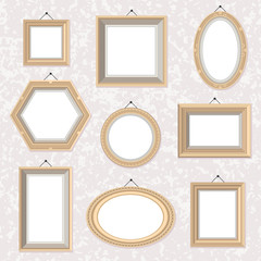 Vector set of flat style golden frames on the marble wall.