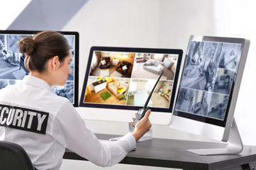 Safety of private property and modern technology. Safeguard monitoring home security cameras