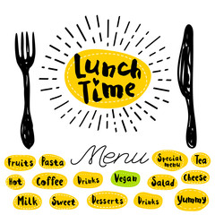 Lunch time logo, fork, knife, menu. Lettering, calligraphy logo, sketch style, light rays, heart, pasta, vegan, tea, coffee, deserts, yummy, milk, salad, oatmeal. Hand drawn vector illustration.