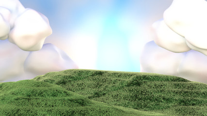 3d rendering picture of green grass field, blue sky and clouds.
