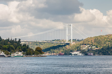 Cloudy view from pleasure boat to Bosphorus, Istanbul, Turkey.
