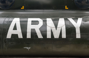 US Army insignia on the side of a Vietnam war era Boeing CH-47 Chinook helicopter