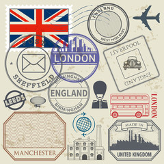 Travel stamps or symbols set England, London and United Kingdom