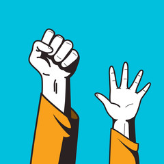 Illustration of a clenched fist and a raised hand