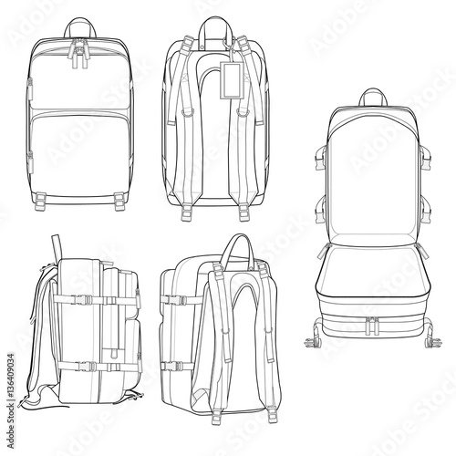 """""""Incase City Backpack vector illustration flat sketches ..."""