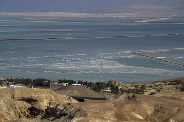 view of the mountains and the Dead Sea from the road