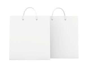 Empty Shopping Bags on white for advertising and branding. 3d rendering.