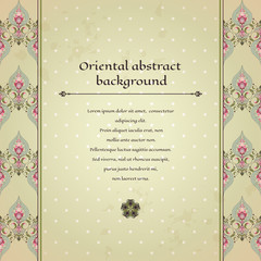 Vector card. Oriental pattern on vintage background. Old paper, polka dots and stains. Place for your text. Perfect for greetings, invitations or announcements