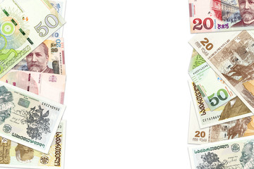 heap of georgian lari bank notes background