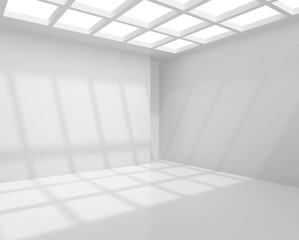 Architecture white room interior with ceiling from window. 3d rendering.